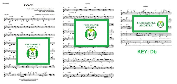 Db (key) - Sugar - Maroon 5 - Keyboard Sheet music