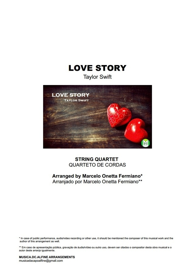Love Story - Taylor Swift - String Quartet - Score and parts