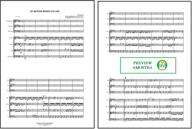 No Matter Where You Are | Us The Duo | String Quartet And Brass Trio | Score and Parts