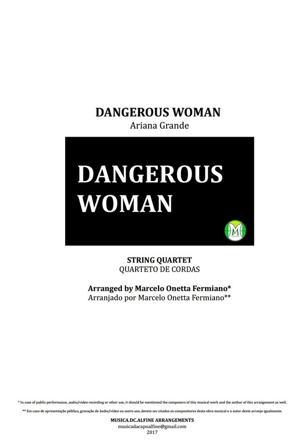 Dangerous Woman - Ariana Grande - String Quartet - Score and parts