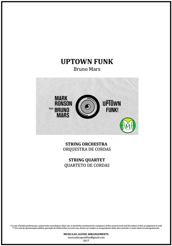 Uptown Funk | Bruno Mars | String Orchestra or String Quartet | Score and Parts | Download