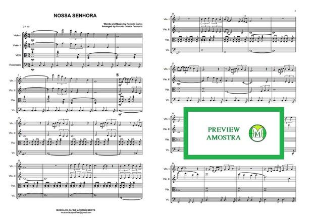 Nossa Senhora - Roberto Carlos - Quarteto de Cordas  - Partitura