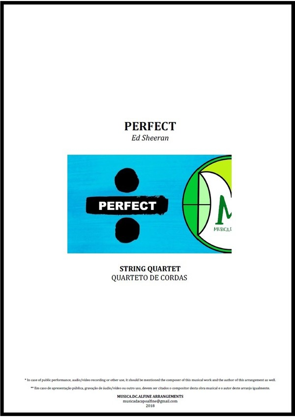 Perfect | Ed Sheeran | String Quartet | Score and Parts | Download in A and Ab (Key)