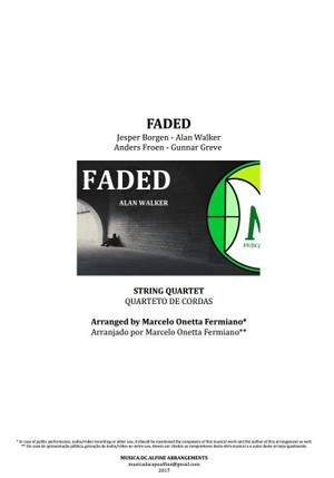 Faded | Alan Walker | Quarteto de Cordas | Partitura Completa Download