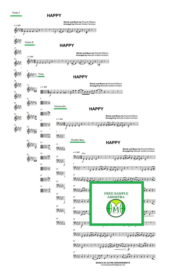 Happy - Pharrell Williams - String Orchestra/String Quintet - Full Score and parts