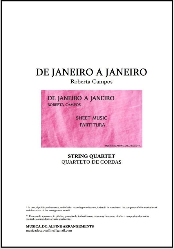 De Janeiro a Janeiro   Roberta Campos   Quarteto de Cordas   Partitura   Grade e Partes