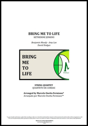 Bring Me To Life | Katherine Jenkins | String Quartet | Score and Parts Download