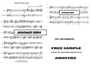 BACK IN BLACK - ACDC - Violino e Violoncello - Score and parts Sheet Music Download