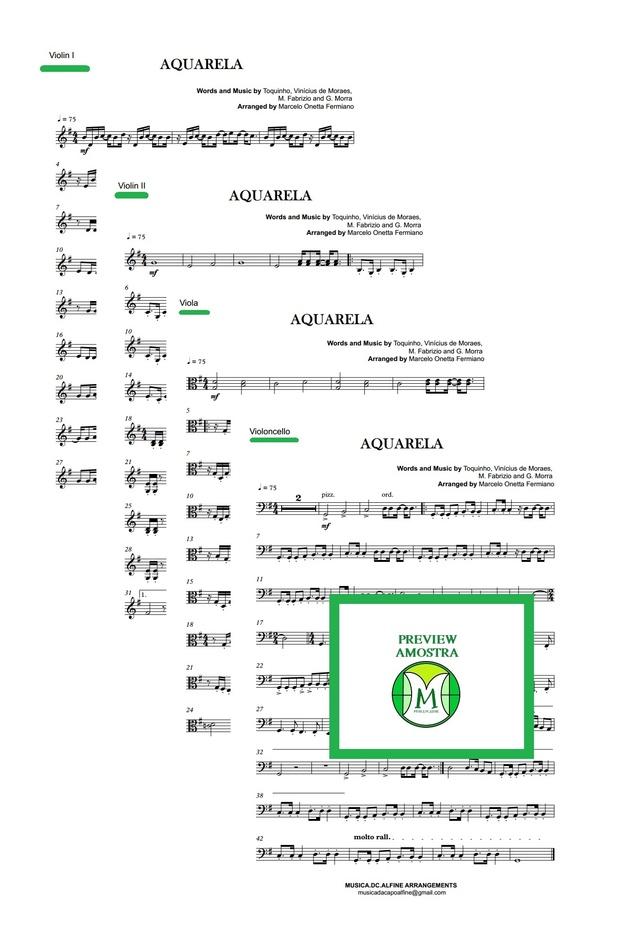 Aquarela - Toquinho - Quarteto de Cordas - Partitura Completa