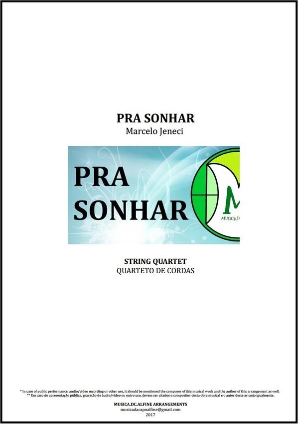 Pra Sonhar | Marcelo Jeneci | Quarteto de Cordas | Partitura | Grade e Partes | Download
