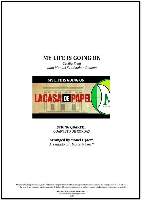 My Life is Going On | Cecilia Krull | String Quartet | Score and Parts | Download
