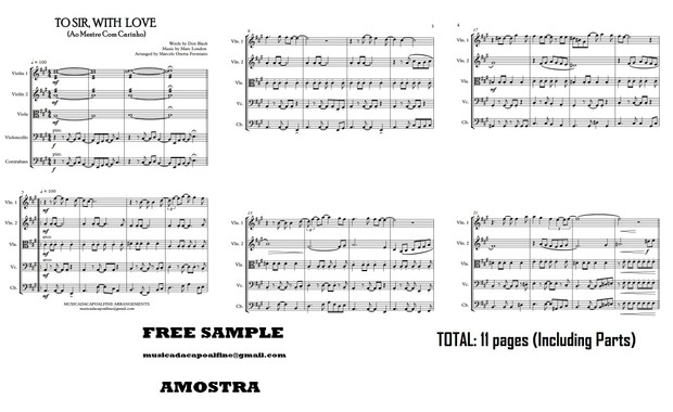 TO SIR, WITH LOVE - Ao Mestre com Carinho - Chamber Orchestra- Sheet Music Download