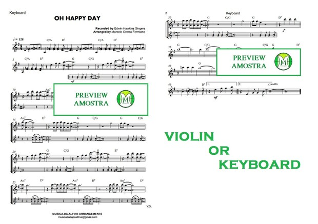 Oh Happy Day - Ed. Hawkins- Keyboard or Violin Sheet Music (with chords)