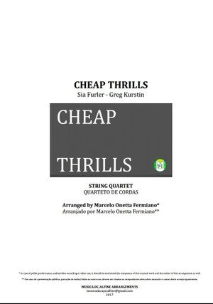 Cheap Thrills - Sia - String Quartet - Score and Parts