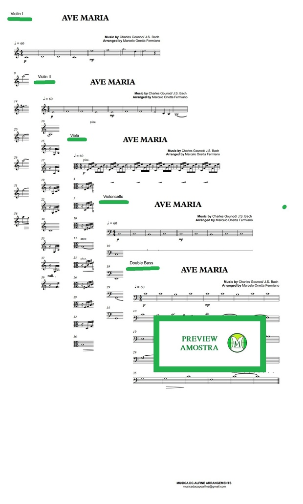 Ave Maria - Gounod - String Orchestra/String Quintet - Score and parts