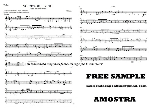 Voices of Spring - Strauss - Vozes da Primavera - Violin - Download - sheet music