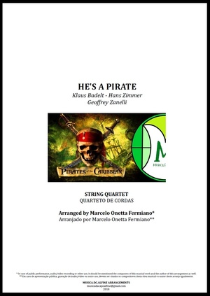 He's a Pirate | Klaus Badelt | Quarteto de Cordas | Partitura Completa Download