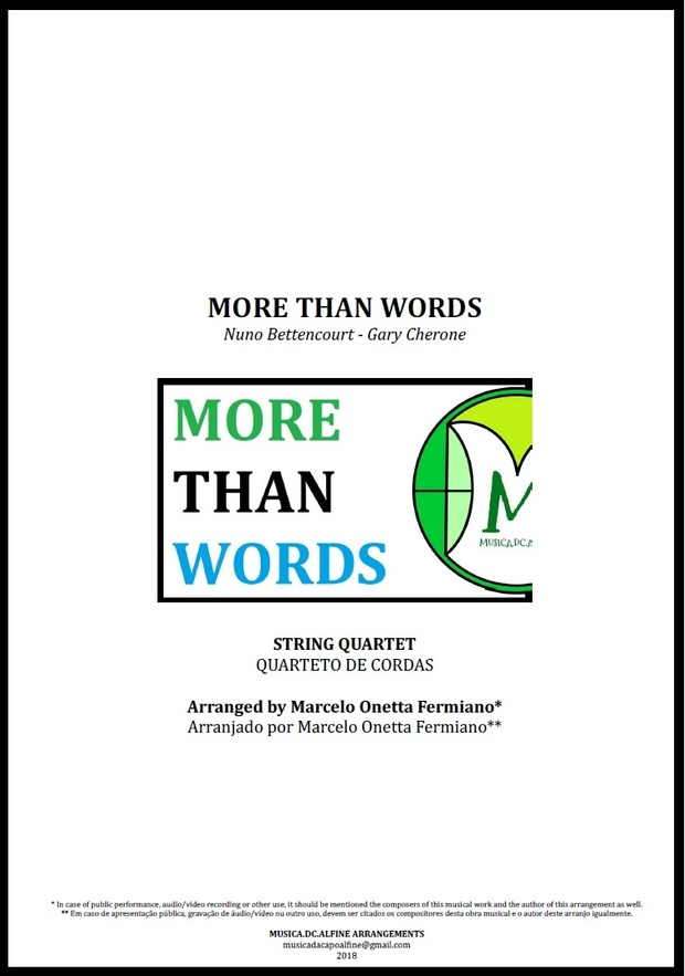 More Than Words | Extreme | String Quartet | Score and Parts | Download