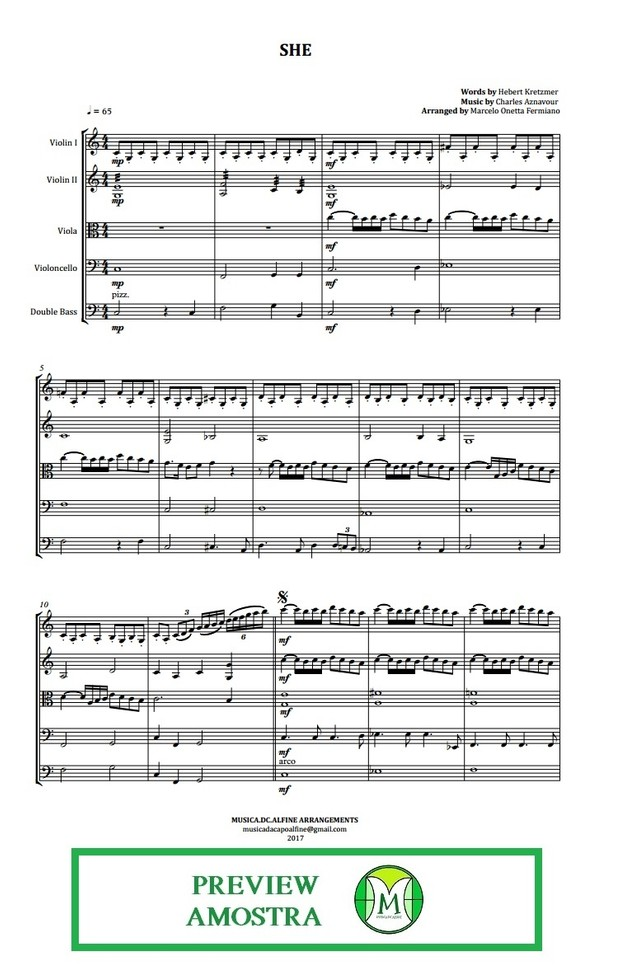 She - Charles Aznavour - String Orchestra or String Quartet - Score and parts