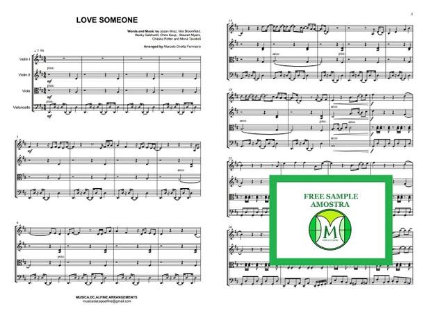 Love Someone - Jason Mraz - String Quartet - Score and parts