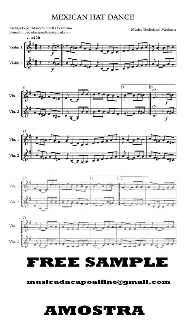 Dois Violino2 - MEXICAN HAT DANCE - Score and parts.pdf Partitura