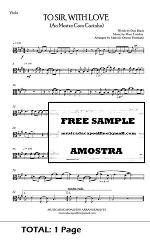 TO SIR, WITH LOVE - Ao Mestre com Carinho - Viola -Sheet Music Pdf Download