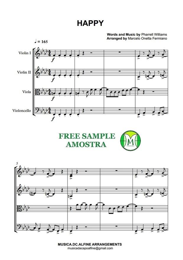 Happy - Pharrell Williams - String Quartet - Full Score and Parts