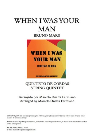 When I was your Man - Bruno Mars - String Quintet - Score and parts.pdf