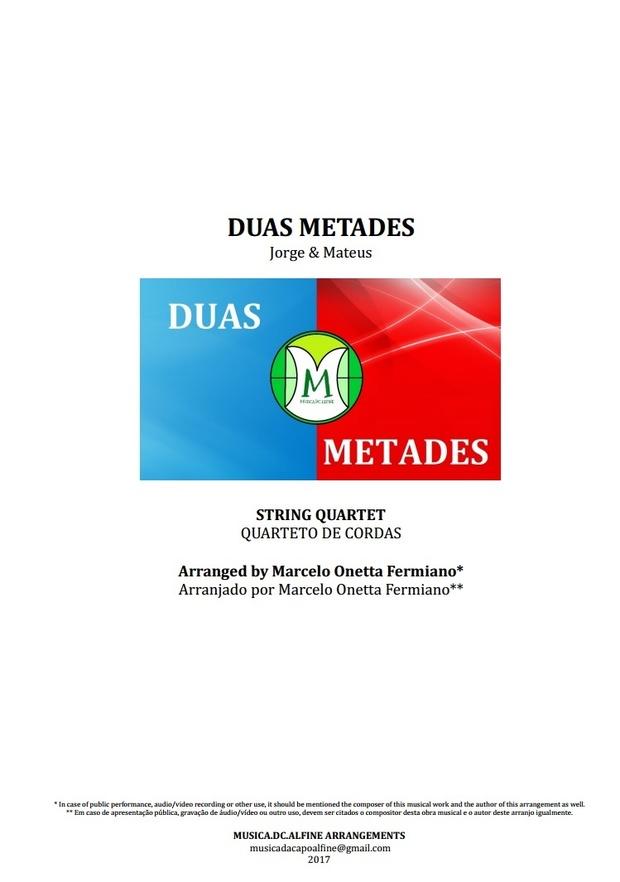 Duas Metades | Jorge e Mateus | Quarteto de Cordas | Partitura Completa | Grade e Partes