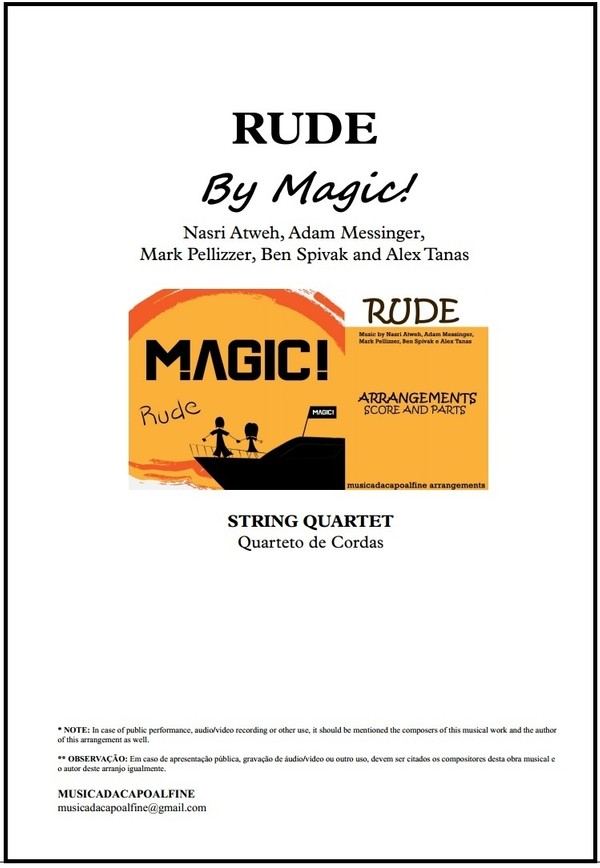 Rude | Magic | String Quartet | Score and Parts | Download | Keys: Db and D
