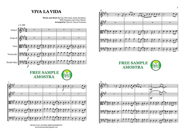 Viva La Vida - Coldplay - String Orchestra or String Quintet - Score and parts