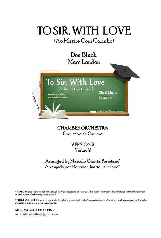 TO SIR, WITH LOVE - CHAMBER ORCHESTRA -Accompaniment - Sheet Music Score and parts1.pdf