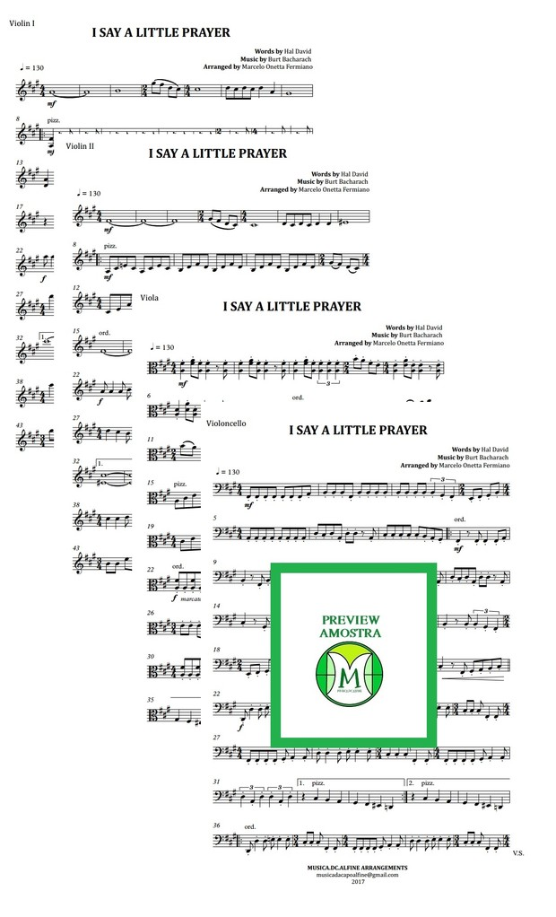 I Say a Little Prayer | Aretha Franklin | Quarteto de Cordas | Partitura Completa