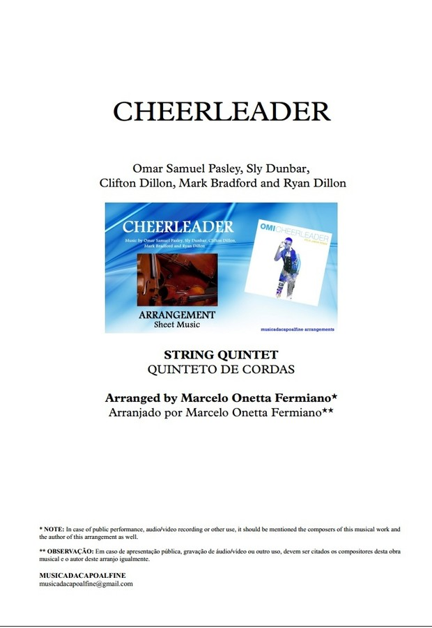 CHEERLEADER - OMI - String Quintet -Sheet Music - Score and parts. pdf