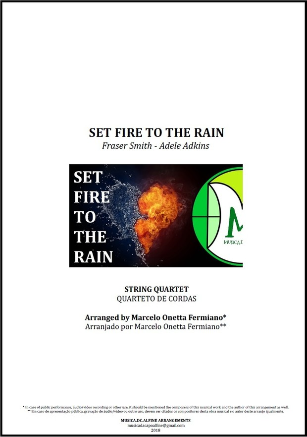 Set Fire To The Rain | Adele | String Quartet | Score and Parts | Download