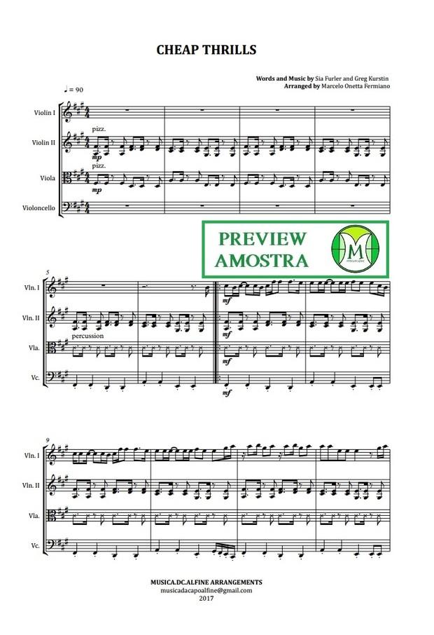 Cheap Thrills - Sia - String Quartet - Score and Parts