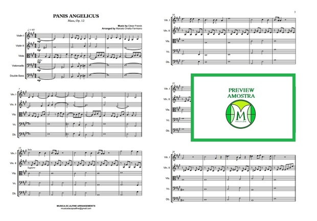 Panis Angelicus - César Franck - String Orchestra/String Quintet - Score and parts