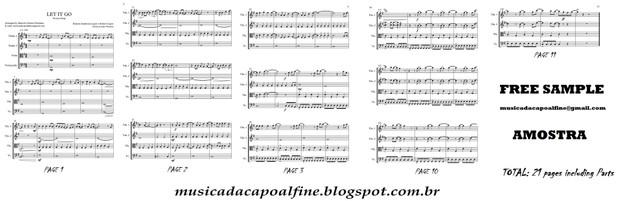 Let It Go - Frozen song- String Quartet - Score and parts sheet music download