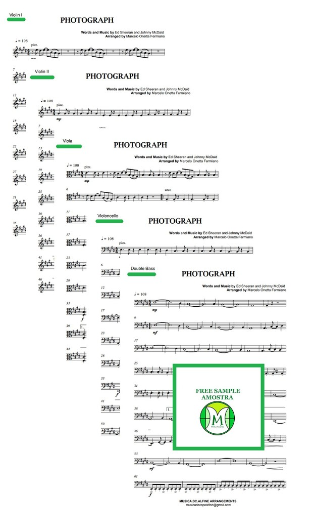 Photograph - Ed. Sheeran - String Orchestra or String Quintet - Score and parts