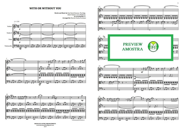 With or Withour You | U2 | String Quartet | Score and Parts