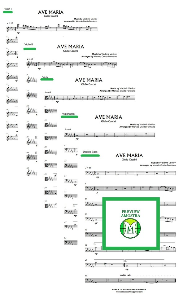 Ave Maria - Caccini - String Orchestra - String Quintet - Score and parts