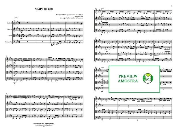Shape Of You - Ed Sheeran - Quarteto de Cordas - Partitura Completa Grade e Partes