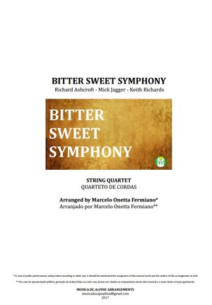 Bitter Sweet Symphony - The Verve - Quarteto De Cordas - Partitura Completa Grade e Partes