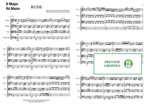 Rude   Magic   String Quartet   Score and Parts   Down