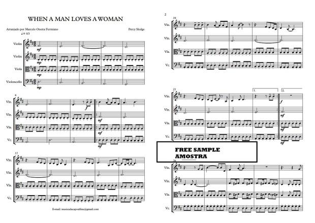 String Quartet - WHEN A MAN LOVES A WOMAN - Score and parts Sheet Music