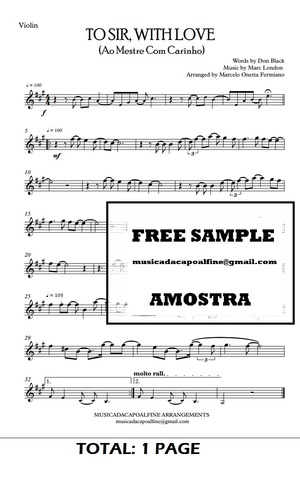 TO SIR, WITH LOVE - Ao Mestre com Carinho - Violin -Sheet Music Pdf Download