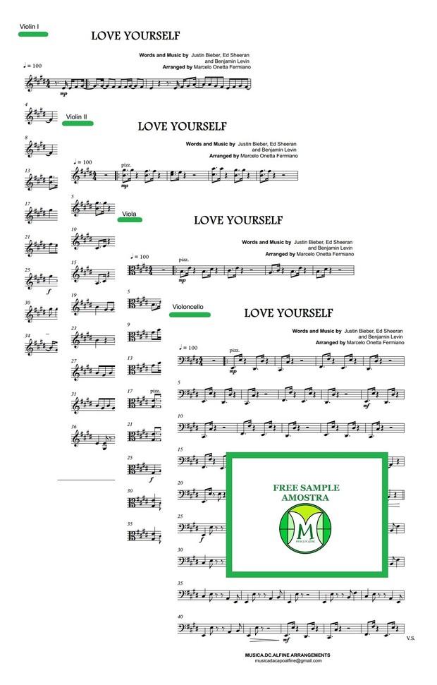 Love Yourself - Justin Bieber - String Quartet - Score and parts