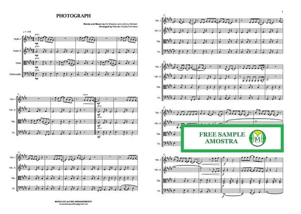 Photograph - Ed. Sheeran - String Quartet - Score and parts.