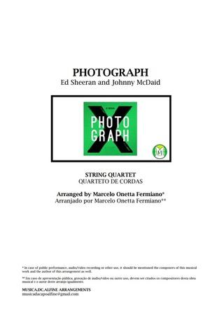 Photograph   Ed. Sheeran   Quarteto de Cordas   Partitura Grade e Partes