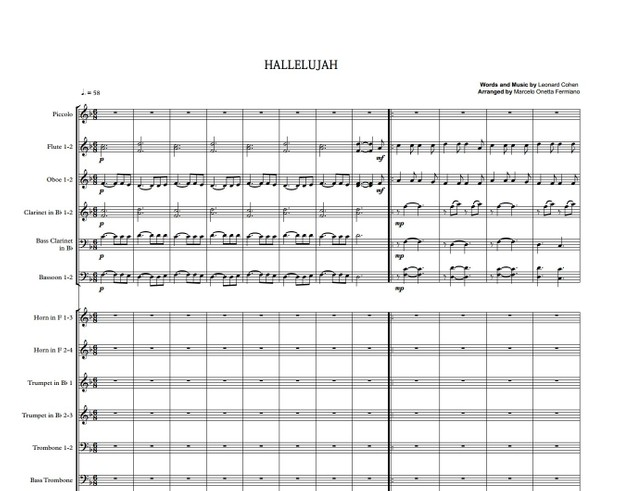 Hallelujah - Leonard Cohen - Symphony Orchestra - Score and parts.pdf